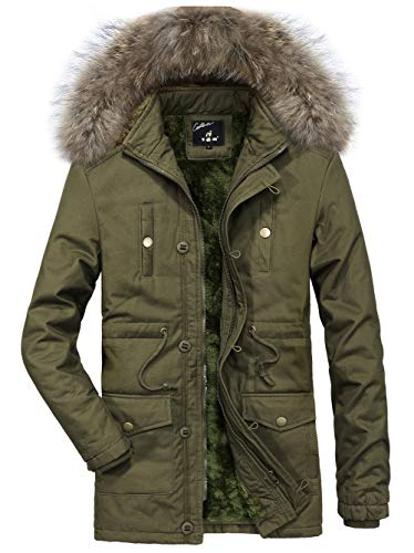 SEFON Men's Winter Thicken Cotton Puffer Coat Outwear Jacket with Removable Fur Hood(Green,US S/Asian L) (Trench Coat Men With Fur Hood)
