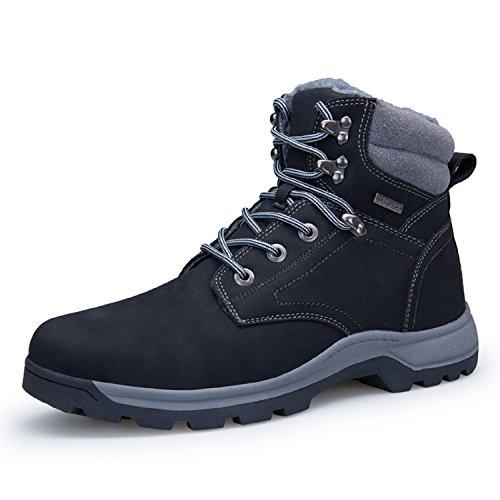 Zapatos Hombre 1 46 39 Nieve Negro Botas Deportes Piel Negro Forro Senderismo Trekking Marrón de Impermeables Sneakers Khaki Rioneo S48Bqnq