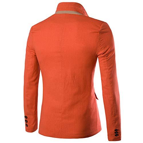 Da Abito Arancione Pulsante Blazer Slim Uomo Fit Solido Un Xfentech Giacche Elegante Casual Cappotti Abiti FxwawRB