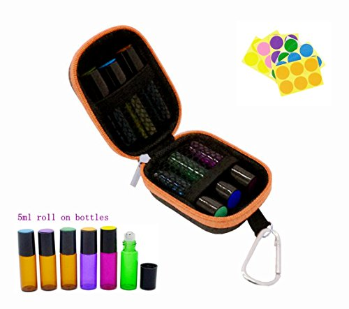 Stylish Essential Oil Key Chain case with 6 Roll on Bottles(5ml), Blank Labels, Droppers, Fits Easily in Purse or Makeup Bag, Carry Your Favorite Essential Oils Everywhere You Go, Orange (Body Shop Tea Tree Set)