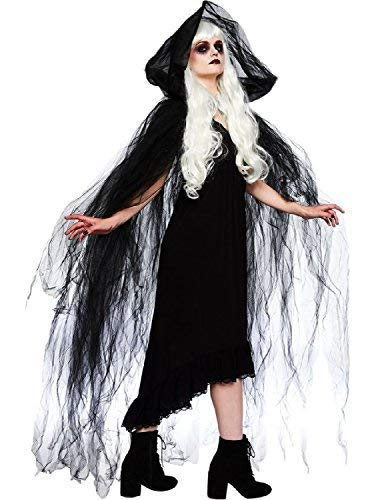 Ladies Mens Black Dark Witch Vampire Gothic Sorceress Halloween Fancy Dress Costume Outfit Hooded Cape Cloak]()