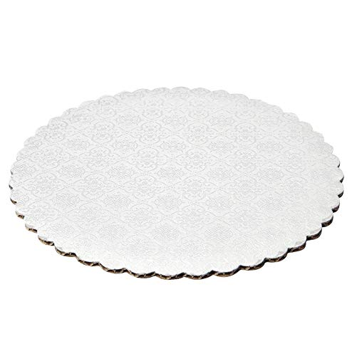 """Whalen Packaging 9"""" White Scalloped Edge Cake Boards, 6 ct"""