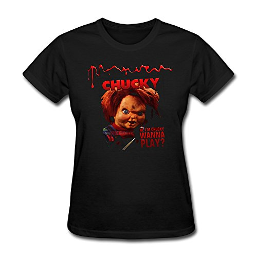 YIZE Womens Chucky Doll Short Sleeve Cotton T-Shirt (Chucky Doll For Sale Cheap)