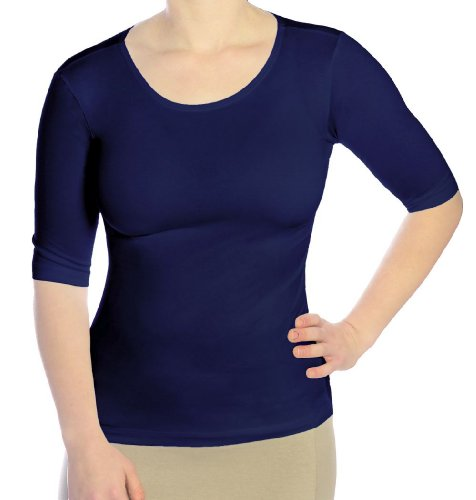 (Kosher Casual Women's Modest Boat Neck Fitted Layering Top with Elbow Length Sleeves Large Navy)