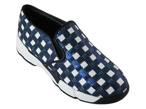 Donna Blu Paillettes Sneakers bianco Scarpe Sequins Pinko Tessuto Ricamato SwZ5xP7pqn