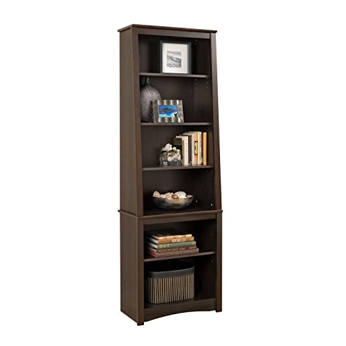 Espresso Tall Slant-Back Bookcase by Prepac
