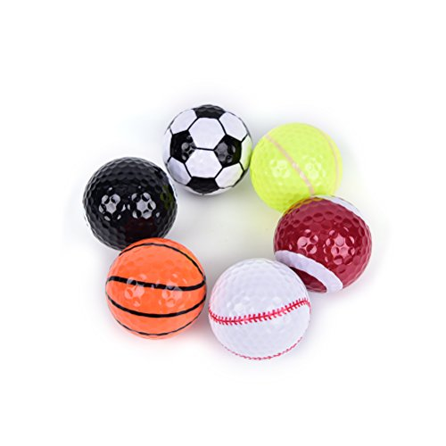MarketBoss 6 PCS Golf Balls (Basketball, Football, Volleyball,Tennis, Baseball, 8-Ball) Double-layer Construction 75% Strong Resilience Force Sports Practice Novelty Balls Golf Balls -