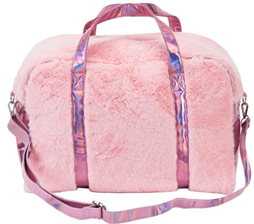 Three Cheers for Girls Large FabuLuxe Weekender Pink Travel Bag - Faux-Fur Lined - Adjustable Shoulder Strap - 18 L x 8 W x 9 H