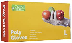 Green Direct Food Grade PE Disposable Gloves/Food Preparation Poly Gloves BPA Free Box of 500, Size Large