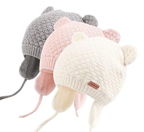 Joyingtwo Soft Warm Knit Todder Cute Bear Baby Beanie Hat with Ear Flap