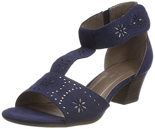 Softline Women's 28362 Ankle Strap Sandals Blue (Navy) 0Xpdx