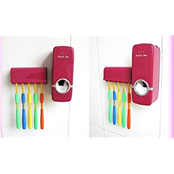 1 Set Red color Automatic Toothpaste Dispenser + 5 Toothbrush Holder Stand Set Wall Mount Rack