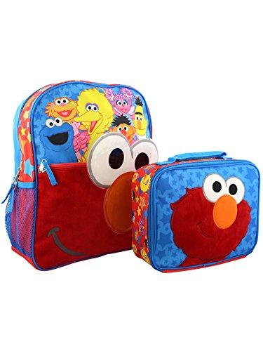 Sesame Street Elmo Boys Girls Preschool 14 Inch Backpack and Lunch Box School Set (Red/Blue) ()