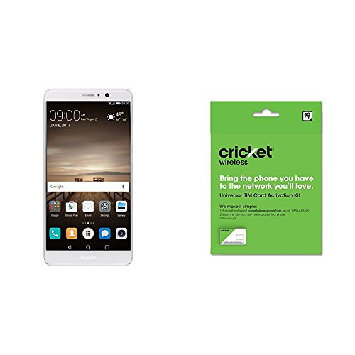 Huawei Mate 9 with Amazon Alexa and Leica Dual Camera - 64GB Unlocked Phone - Moonlight Silver (US Warranty) and Cricket Wireless BYOD Prepaid SIM Card