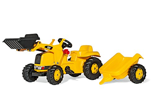 (rolly toys CAT Construction Pedal Tractor: Front Loader Tractor with Detachable Trailer, Youth Ages 2.5+)