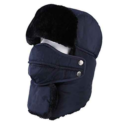 (Topnaca Unisex Adult Winter Ear Flap Trooper Trapper Hat with Mask and Neck Warmer, Waterproof Thermal Warm Russian Style for Snow Skiing Hunting Walking Hiking (Navy Blue - Neck Warmer) )