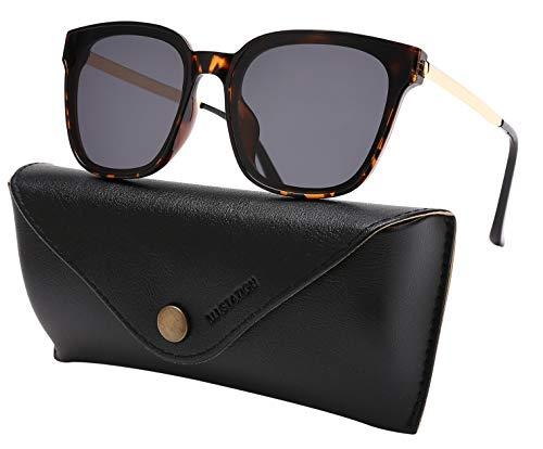 Square Sunglasses Womens Mens Oversized Mirrored lens U886 (TORTOISE) Large