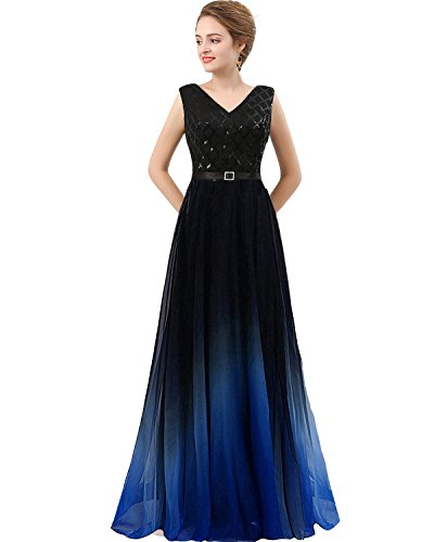 Lemai Plus Size Long Sequined Ombre Chiffon Gradient Prom Evening Dress  Black Royal Blue US 18W