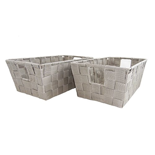 Set of 2 Woven Baskets for Storage - Fabric Strap Shelf Bin for Closets, Bedroom, Playroom (12 x 6.5 x 4.5, Light Gray - Set of 2)
