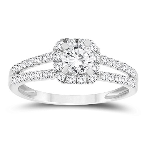 3/4 Carat TW Diamond Halo Split Shank Engagement Ring in 10K White Gold -