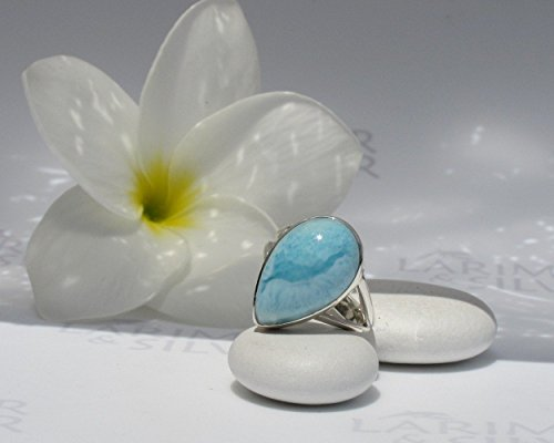 Larimar ring by Larimarandsilver, ring size 6.5 Robin eggs blue Larimar pear, rain drop, sky blue, pastel blue pear, handmade – AZ057 (Larimar Pear Ring)