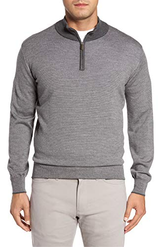 PETER MILLAR Merino Silk Cashmere Blend Needle Stripe Quarter-Zip Pullover, Gray, L