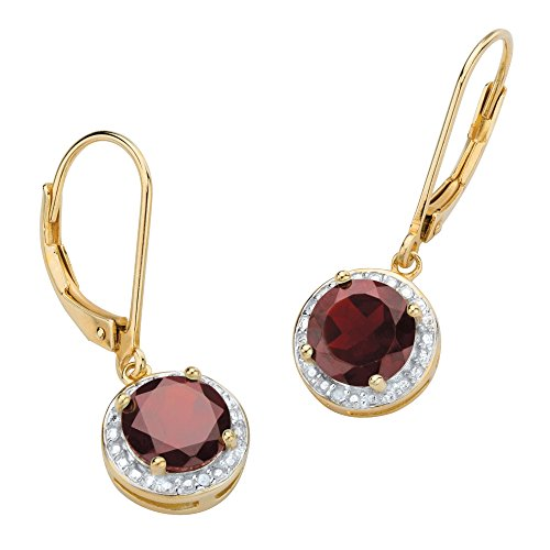 - Genuine Red Garnet and Diamond Accent 14k Gold-Plated .925 Silver Pave-Style Halo Earrings