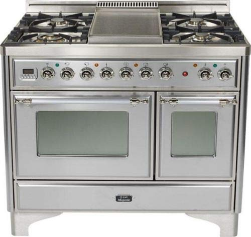 Ilve UMD100FDMPIX 40″ Majestic Dual Fuel Gas Range Griddle Double Oven Stainless Steel