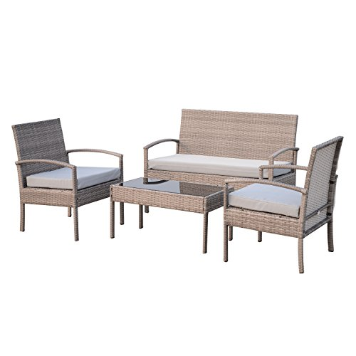 Outsunny 4 Piece Outdoor Patio Armchair and Loveseat Conversation Set – Light Grey