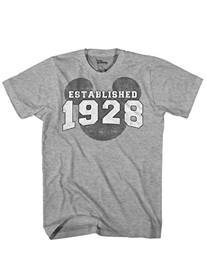 Mickey Mouse EST. 1928 Vintage Classic Disneyland World Men's Adult Graphic T-Shirt (Heather Grey, Large)