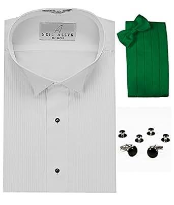 Tuxedo shirt kelly green cummerbund bow tie cuff links for Stud sets tuxedo shirts