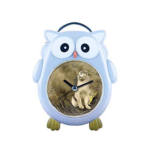 girlsight1 Blue Owl Alarm Clock Silent Non-Ticking Cartoon Quartz Loud Alarm Clock, Cute, Backlight, Personality Pattern owl- 158. Cat, Animal, Tree, Art, Abstract