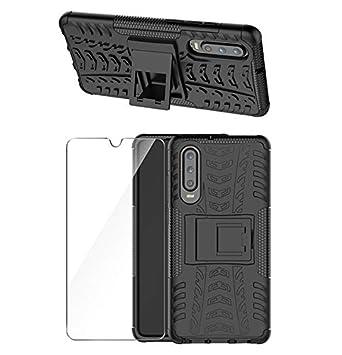 Digead Funda Huawei P30 Carcasa + HD Suave Protectores de Pantalla, Negro Heavy Duty Silicona híbrida con Soporte Cáscara de Cubierta Protectora de ...
