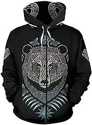 Men Fenrir Wolf Hoodies, 3D Viking Tattoo Print Pullover Sweatshirts, Large Size Loose Jacket with Pocket
