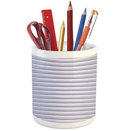 Pencil Pen Holder,Modern Decor,Printed Ceramic Pencil Pen Holder for Desk Office Accessory,Stripe Tube Like Bars Animation Inspired Digital Minimalist Graphic -