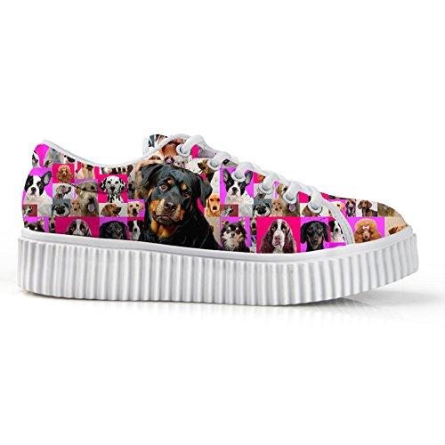 Bigcardesigns Womens Mode Hundar Utforma Tillfälliga Hög Tunga Skor Snör Åt Upp Rottweiler
