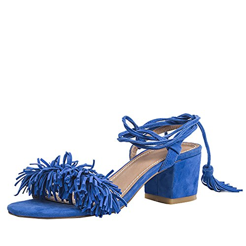 Fringed Block Blue Jushee Women's Sandals Suede Lace up Heel qS8w8XtZ
