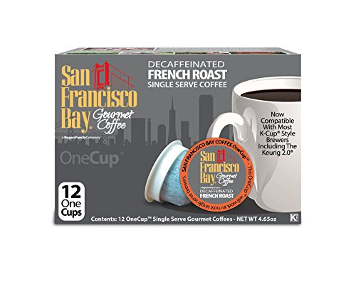 Colors Assortment Hyper (San Francisco Bay OneCup Decaf French Roast (12 Count) Single Serve Coffee Compatible with Keurig K-cup Brewers Single Serve Coffee Pods, Compatible with Cuisinart, Bunn, iCoffee single serve brewers)