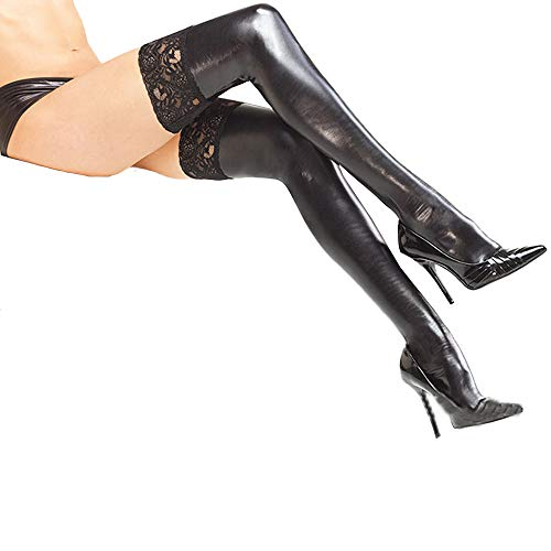 Women's Over Knee Thigh-high Stockings Leather Lace Cosplay Skirts Socks (Black)