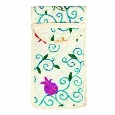 Top Handle Handbags For Women - Yair Emanuel Judaica SILK SCREEN GLASSES POUCH POMEGRANATES (Bundle)