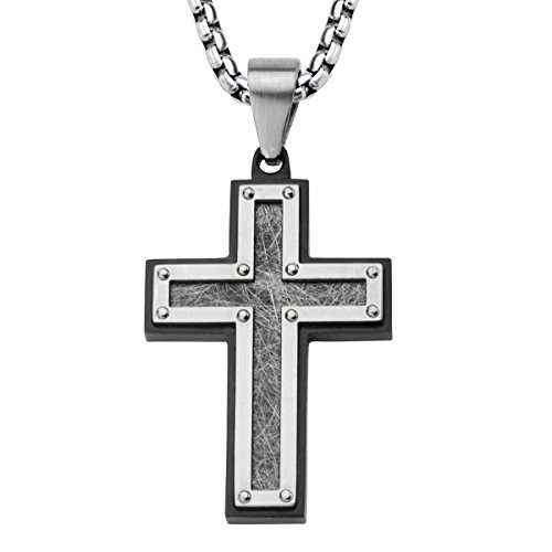 Men's Stainless Steel Frame With Textured Black IP Cross Pendant With Chain