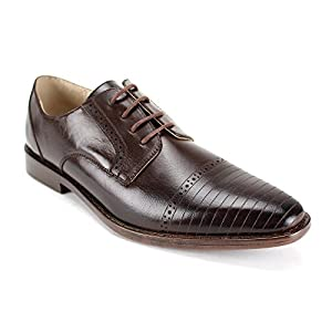 Giorgio Venturi 2520 ~ Mens Leather Dress Shoes With Pinstripes Lines On Toe (10.5, Choc Brown)