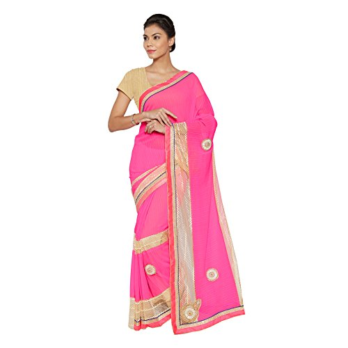 Viva-N-Diva-Pink-Chiffon-And-Net-Saree-With-Unstitched-Blouse-Piece