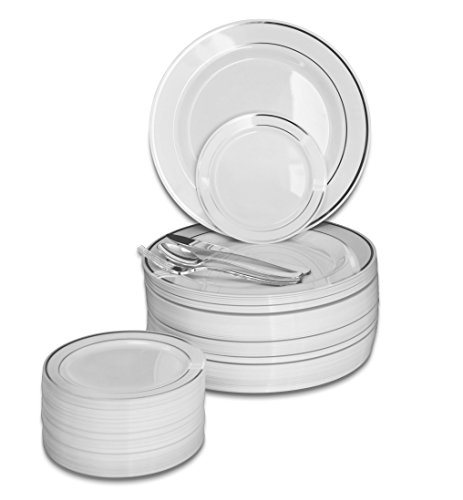 '' OCCASIONS '' 600 PCS / 120 GUEST Wedding Disposable Plastic Plate and Silverware Combo Set , ( White / Silver Rim plates, Silver silverware) by OCCASIONS FINEST PLASTIC TABLEWARE