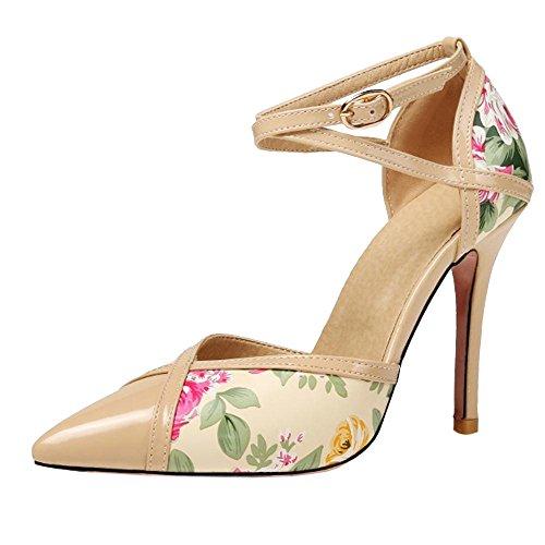 COOLCEPT Damen Thin Heel Pumps Schuhe Apricot