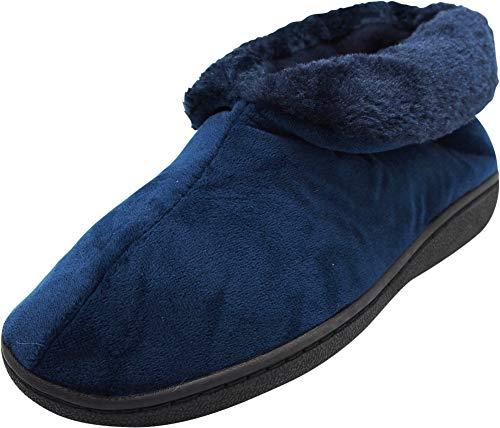NORTY - Women's Faux Fur Slip On Bootie Slipper, Navy 40810-Medium