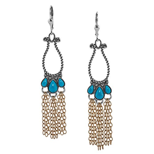 American West Sterling Silver and Brass Blue Turquoise Rope and Chain Chandelier Earrings