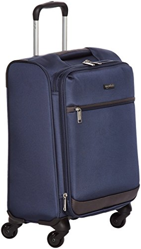 AmazonBasics Softside Spinner Luggage - 21-inch, Carry-on/Cabin Size, Navy Blue