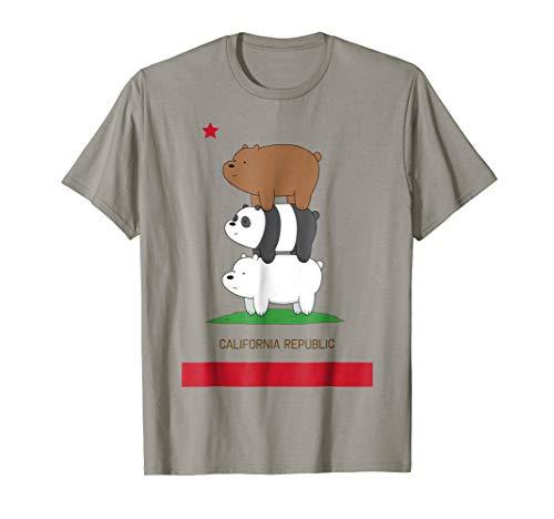 (CN We Bare Bears California Flag Stack Graphic T-Shirt)
