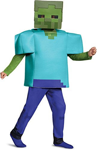 Minecraft Steve Halloween Costume (Disguise Zombie Deluxe Child Costume, Green,)